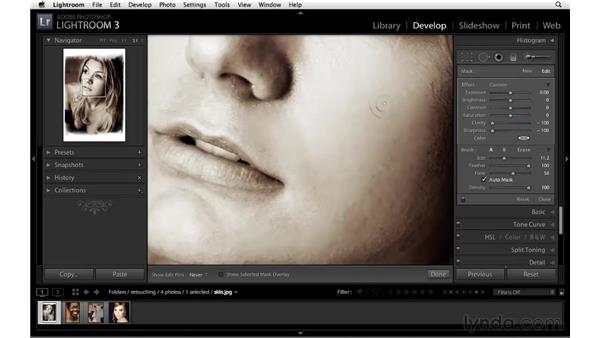 Softening and smoothing skin: Lightroom 3 Essential Training