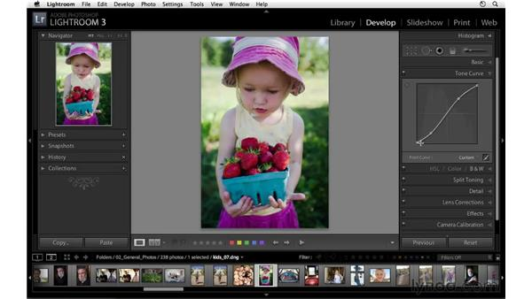 Correcting exposure with the tone curve controls: Lightroom 3 Essential Training