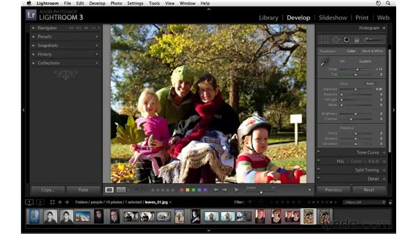Using HSL to increase warm tones: Lightroom 3 Essential Training