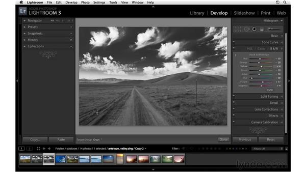 Black-and-white workflow with virtual copies: Lightroom 3 Essential Training