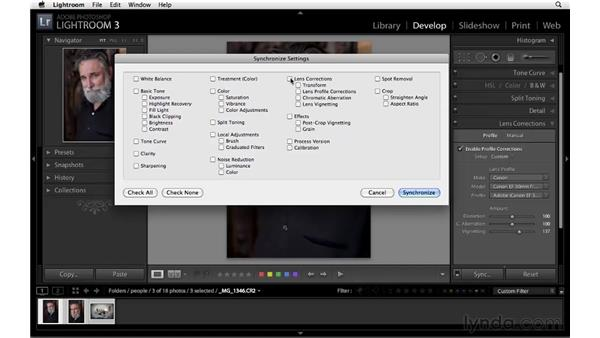 Synchronizing vignette settings across multiple images: Lightroom 3 Essential Training