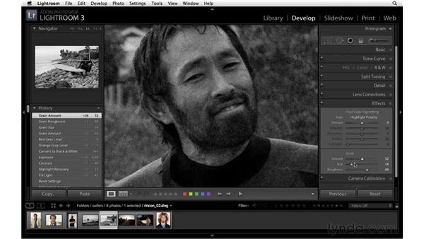 Adding film grain with the Effects panel: Lightroom 3 Essential Training