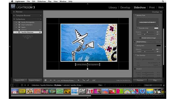 Customizing overlay elements for the slideshow: Lightroom 3 Essential Training