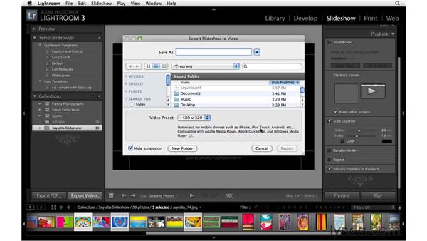 Exporting the slideshow to different formats: Lightroom 3 Essential Training