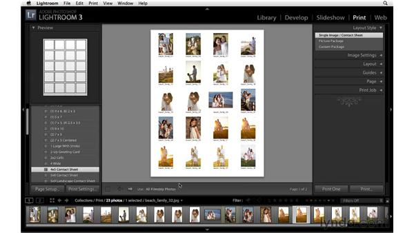Laying out images into preset templates: Lightroom 3 Essential Training