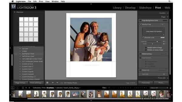 Choosing page options for a single image: Lightroom 3 Essential Training