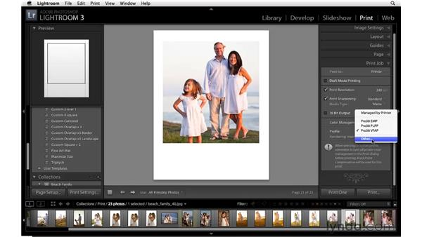 Specifying the print job options for a single image: Lightroom 3 Essential Training