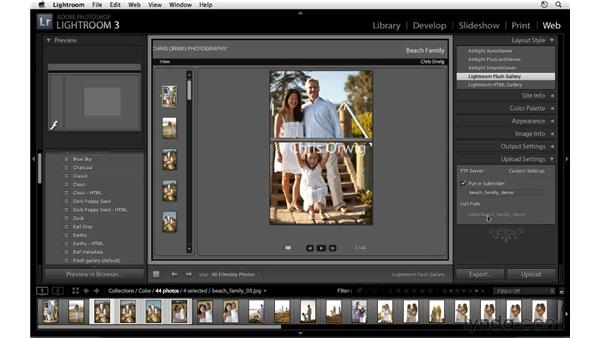 Uploading a web gallery: Lightroom 3 Essential Training