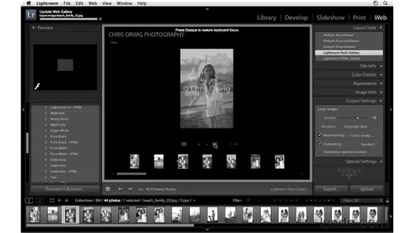 Uploading color and black-and-white galleries: Lightroom 3 Essential Training