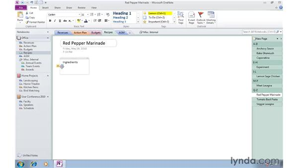 Creating a note on a page: OneNote 2010 Essential Training