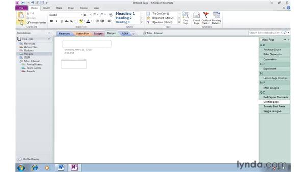 Copying and pasting content: OneNote 2010 Essential Training