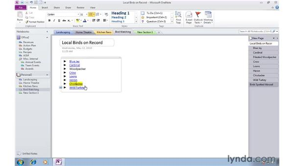 Creating links to pages with wiki linking: OneNote 2010 Essential Training