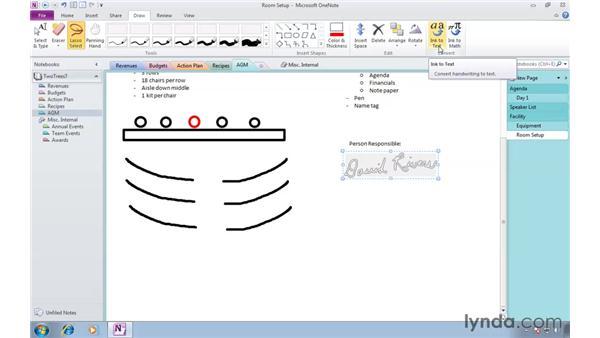 Converting handwriting to type: OneNote 2010 Essential Training