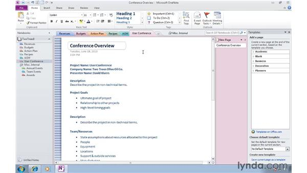 Saving as a template: OneNote 2010 Essential Training