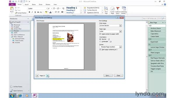 Printing notes and selections: OneNote 2010 Essential Training