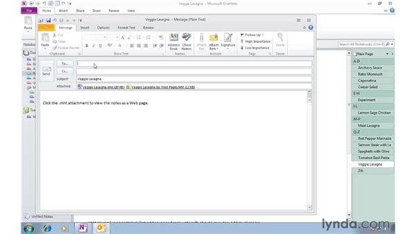 Sending pages in various formats: OneNote 2010 Essential Training
