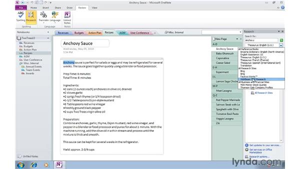 Using the Research pane: OneNote 2010 Essential Training