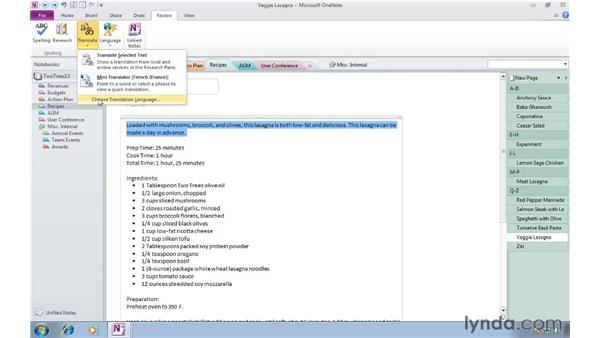 Translating text with the Mini Translator: OneNote 2010 Essential Training