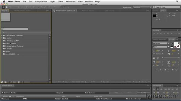 Overview of the project template: CINEMA 4D: Designing a Promo