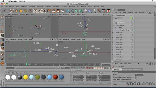 Duplicating an animated rough model to create a school of sharks: CINEMA 4D: Designing a Promo