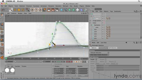 Creating the tail and dorsal fins using the Extrude tool: CINEMA 4D: Designing a Promo