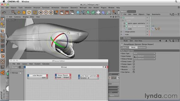 Using XPresso to link the jaw to the Morph animation: CINEMA 4D: Designing a Promo