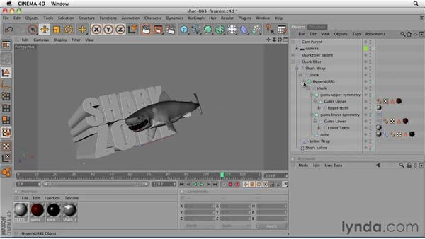 Replacing the rough shark model in the hero shot: CINEMA 4D: Designing a Promo
