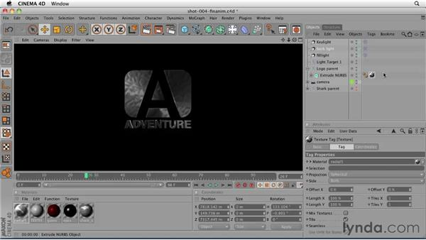 Lighting shot 4: Separate elements in a shot (the text): CINEMA 4D: Designing a Promo