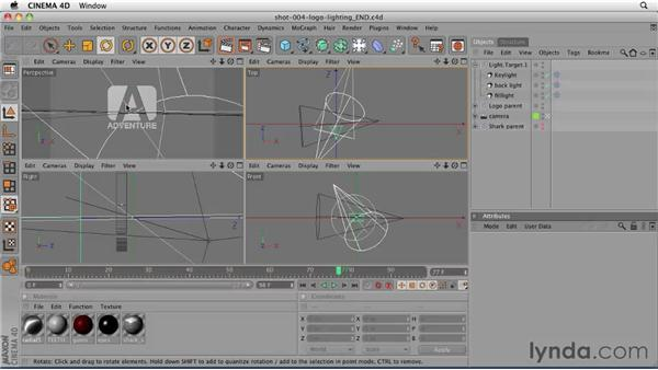 Setting up shot 4 to render in two passes: CINEMA 4D: Designing a Promo
