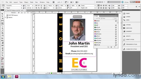 Revealing tag markers and tag frames: InDesign CS5: Dynamic Publishing Workflows in XML