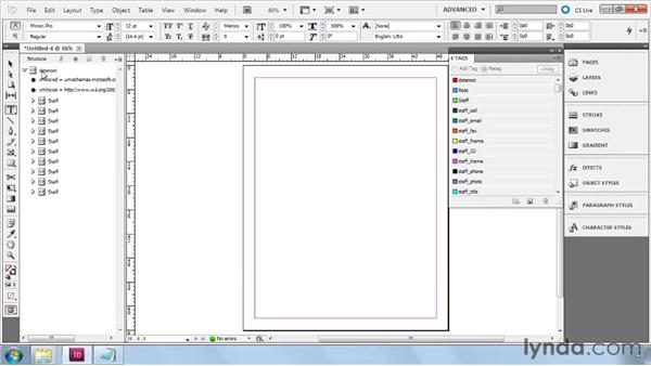 Importing XML using the Structure pane: InDesign CS5: Dynamic Publishing Workflows in XML