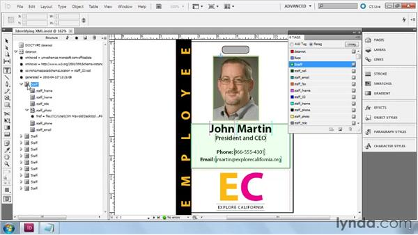 Identifying XML elements, attributes, and comments: InDesign CS5: Dynamic Publishing Workflows in XML