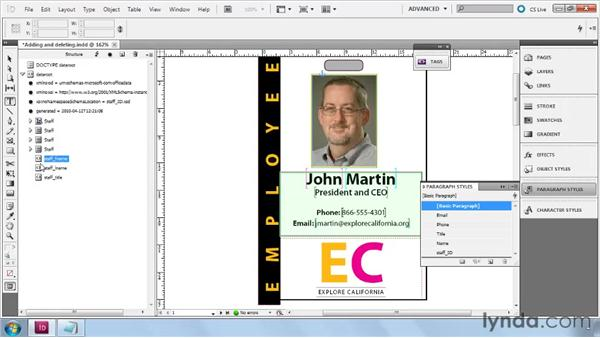 Adding, moving, and deleting new XML elements: InDesign CS5: Dynamic Publishing Workflows in XML