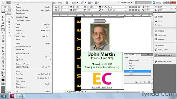 Mapping tags to styles: InDesign CS5: Dynamic Publishing Workflows in XML