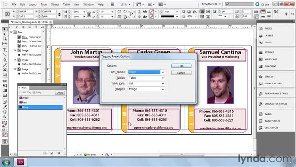 Understanding and modifying tagging preset options: InDesign CS5: Dynamic Publishing Workflows in XML