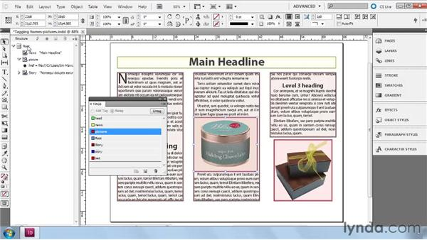Tagging and untagging text/graphic frames: InDesign CS5: Dynamic Publishing Workflows in XML