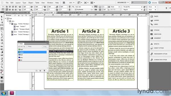 Creating a parent and child (nesting) element structure: InDesign CS5: Dynamic Publishing Workflows in XML