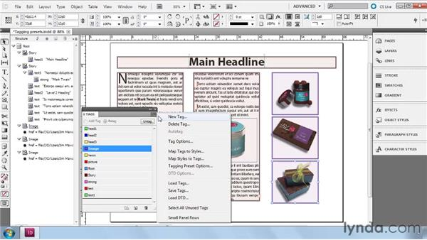 Specifying tagging preset options: InDesign CS5: Dynamic Publishing Workflows in XML