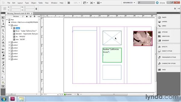Moving elements into a layout: InDesign CS5: Dynamic Publishing Workflows in XML