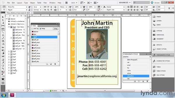 Building Flow layouts with imported XML: InDesign CS5: Dynamic Publishing Workflows in XML