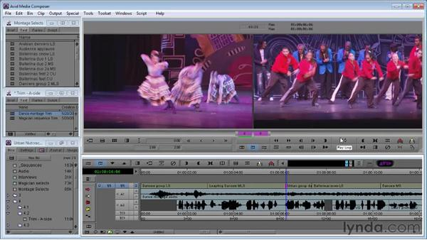 Using A-side Single-Roller Trim to improve audio timing: Avid Media Composer 5 Essential Training