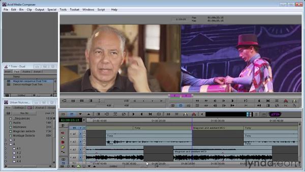 Using Dual-Roller Trim to refine video: Avid Media Composer 5 Essential Training