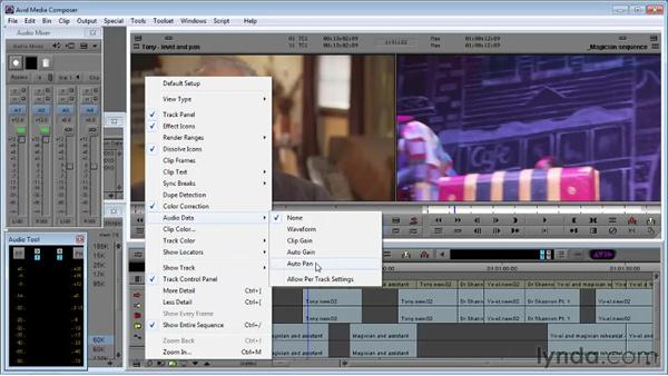 Using the Audio Mixer to adjust audio level and pan: Avid Media Composer 5 Essential Training