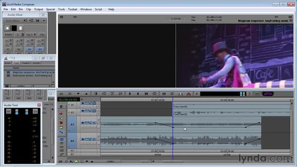 Keyframing audio for intra-segment audio adjustments: Avid Media Composer 5 Essential Training