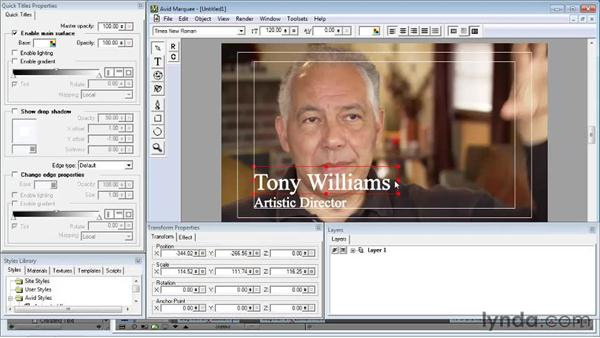 Formatting and enhancing text using Avid Marquee: Avid Media Composer 5 Essential Training
