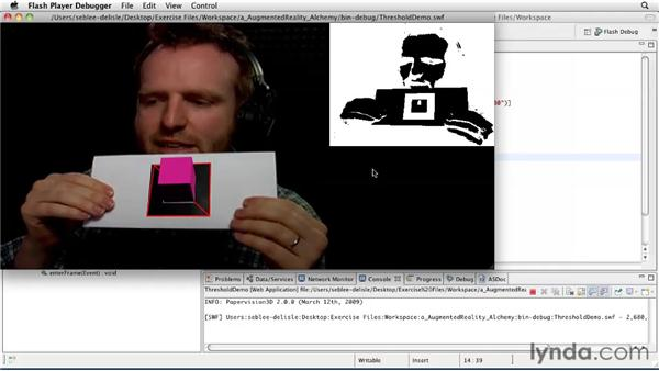 Adjusting the threshold to automatically improve the reliability of marker detection: Papervision3D 2 Essential Training
