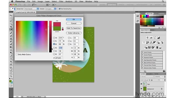 Selecting color in the Color Picker: Photoshop CS5 for the Web