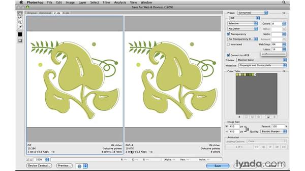 Optimizing graphics as PNGs: Photoshop CS5 for the Web