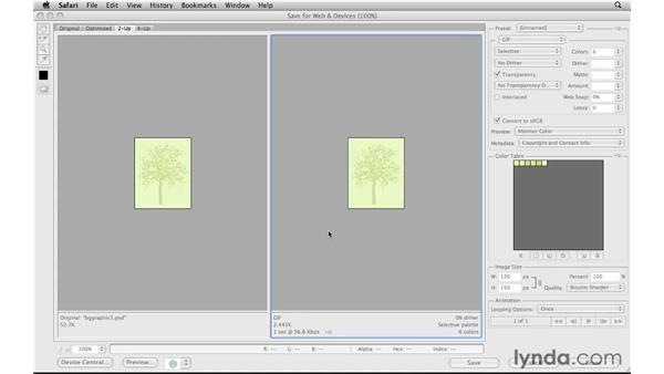 Optimizing a background graphic: Photoshop CS5 for the Web