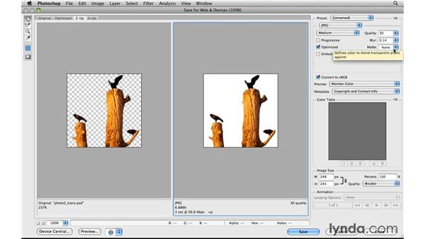 Simulating transparency in a JPEG: Photoshop CS5 for the Web